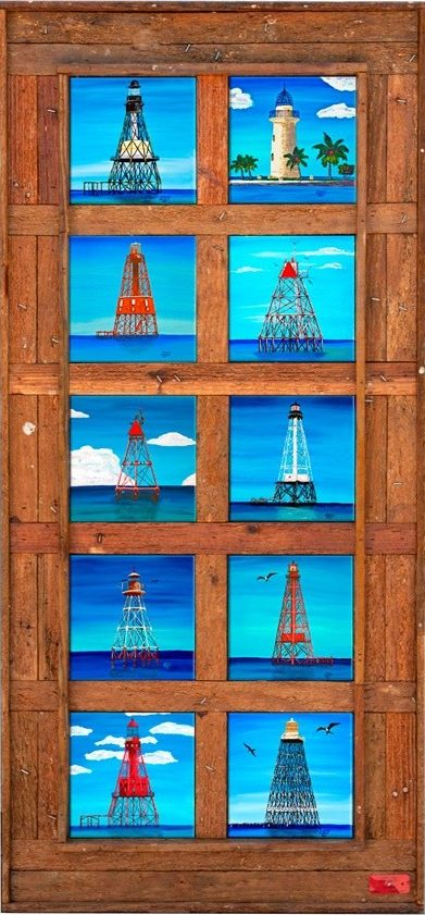 """Florida Keys Lighthouses"" 10 Tiles"