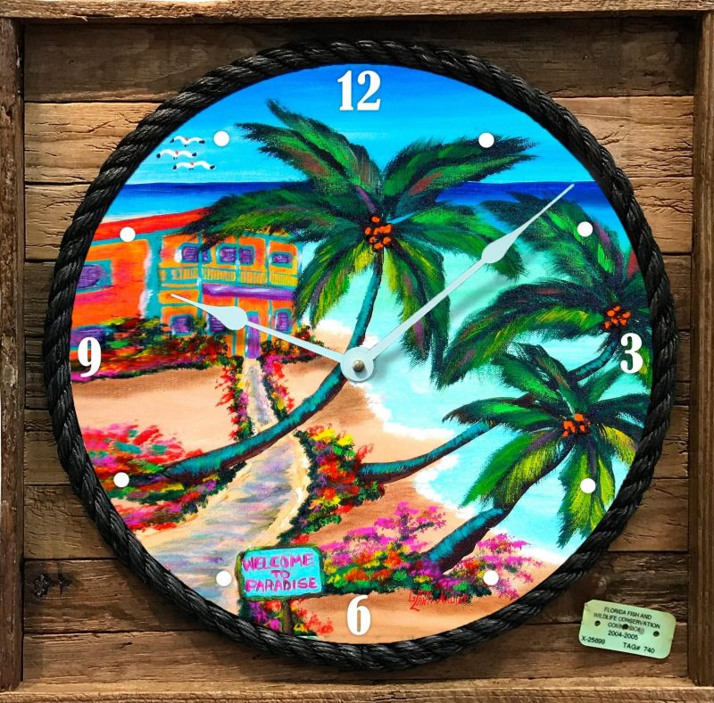 """""""PATHWAY TO PARADISE """" FRAMED CLOCK"""