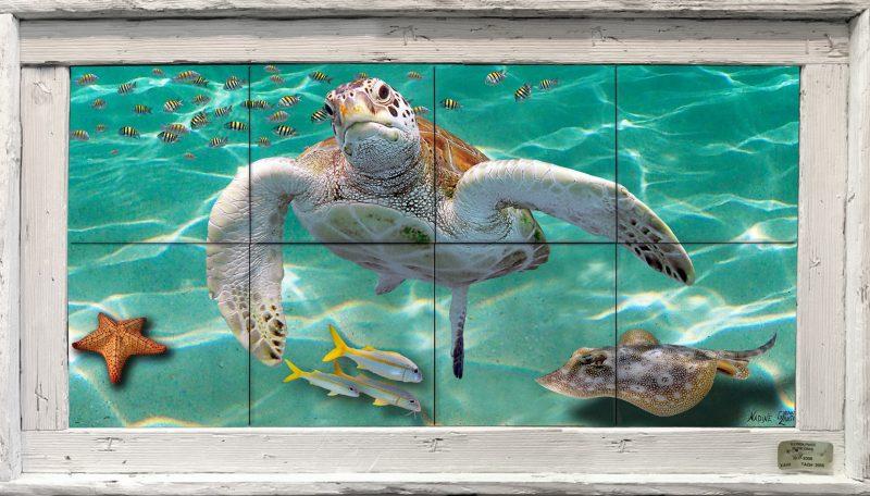 """12""""x24"""" Tile Mural in a Single Slat Frame $229"""