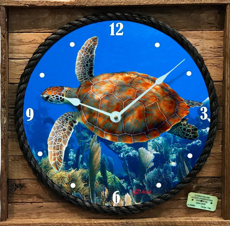 Turtle and Seafan Clock with Frame