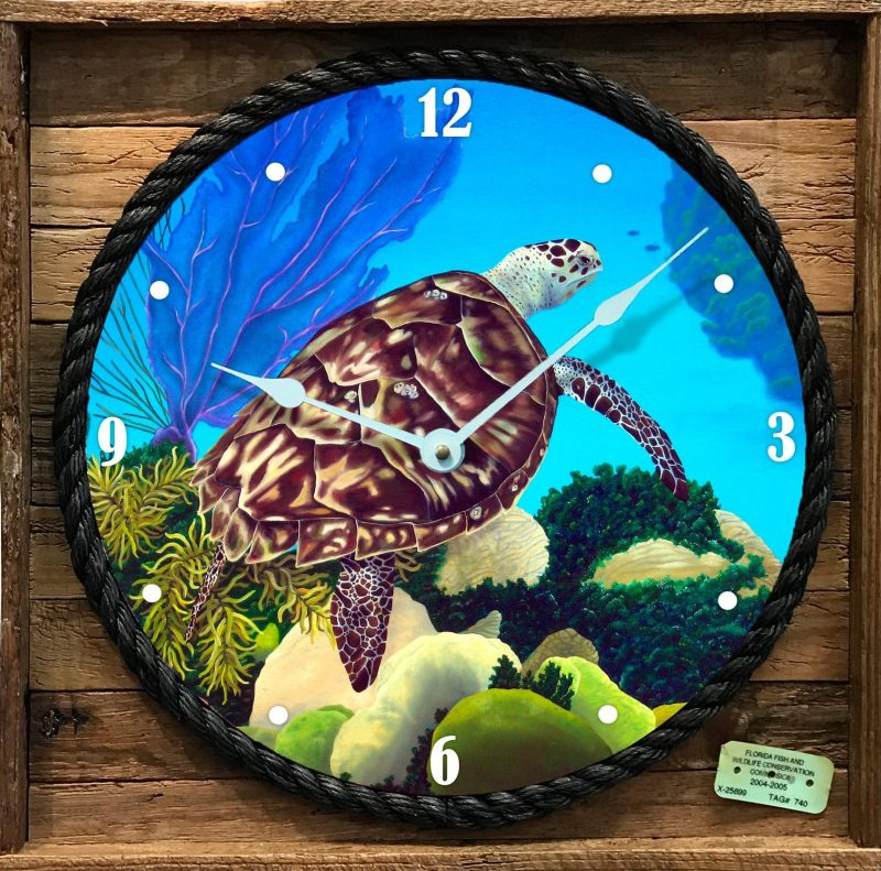 Aloha Honu Clock Framed