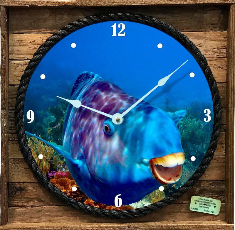Blue Parrotfish Framed Clock