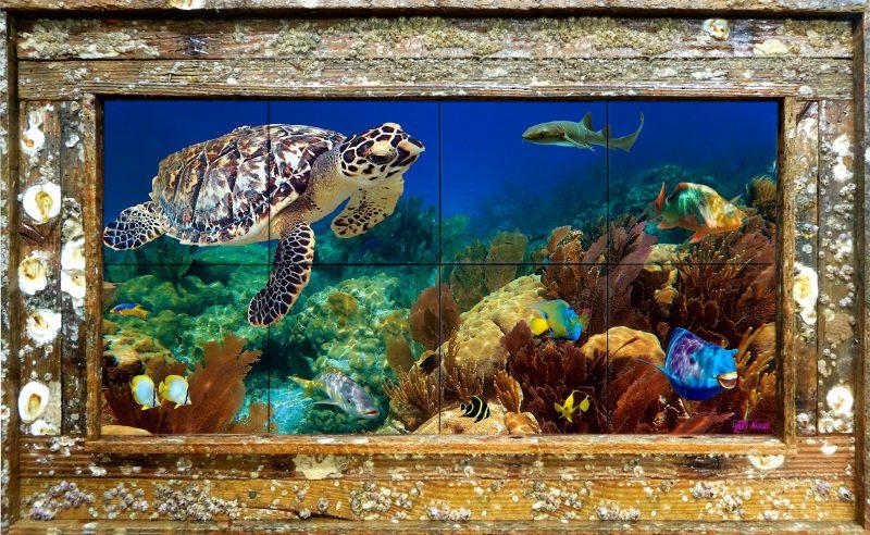 """12""""x24"""" Tile Mural Double Slat Barnacle $395"""