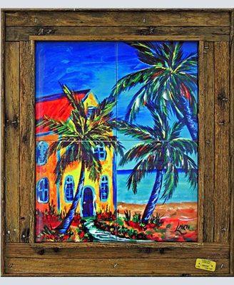 Framed Ceramic Tiles in our Lobster Trap Frames